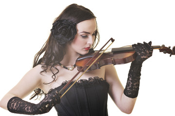 beautiful young lady play violin