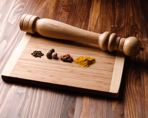 spices and pepper mill