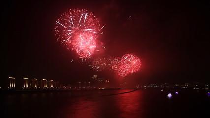 Spectacular festival fireworks Display by the riverside