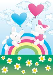 rabbits with rainbow