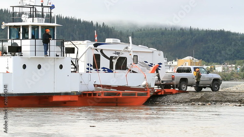 Yukon River ferry unload RV P HD 1464