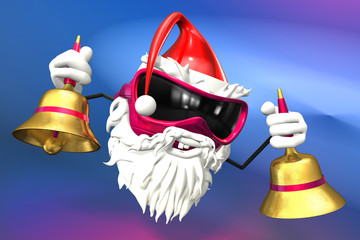 Happy Santa Holds Bells