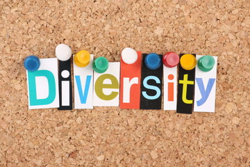 The word Diversity in magazine letters on a notice board