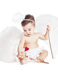 asian baby boy in a angel fancy dress