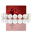 Pearls with creative red gift card, on a white background