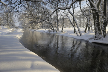 Winter and snow along river Nybroån, Scania Sweden
