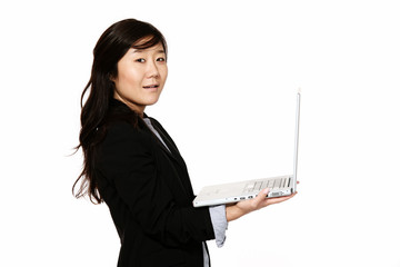 Young businesswoman with a laptop