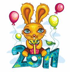 Funny cartoon bunny