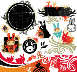 oriental rabbit design element