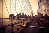 Fototapety View of the Financial District from the Brooklyn bridge