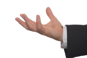well shaped businessman's hand reaching for something isolated o