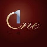 Logo one, number and letter in brown # vector