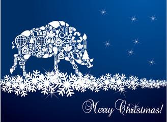 Christmas wild boar greeting card vector