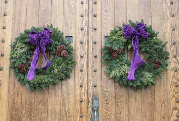 Christmas Wreaths with Purple Ribbon