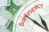 Euro banknotes background - bankruptcy concept poster