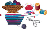 Items for knitting and sewing poster