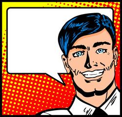 Pop Art Business Man with Speech Bubble. Retro business smiley m