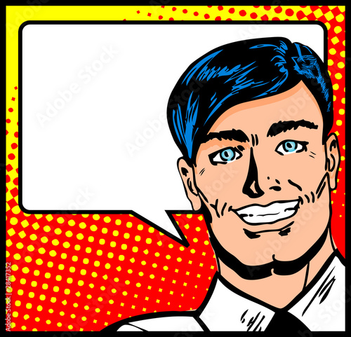 Pop Art Business Man with Speech Bubble. Retro business smiley m