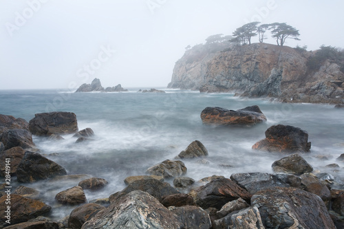 cold sea in the fog