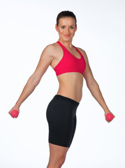 young woman exercise with weights