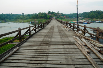 wooden bridge in thailand