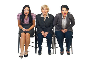 Shocked group of businesswomen