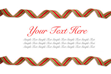 Red ribbon curl on white background - Red ribbon frame