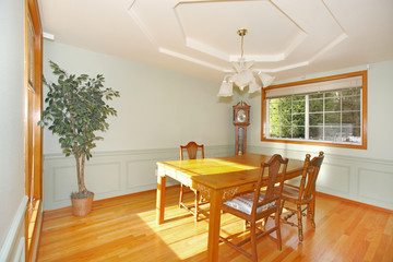 Sunny Dining room with table and chairs