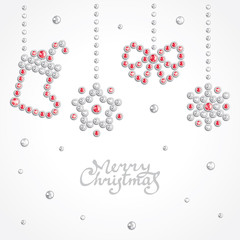 Christmas background with holiday symbols composed of crystals