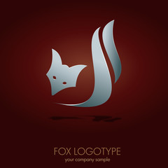 Logo Silver Fox. Voncept of cunning # Vector