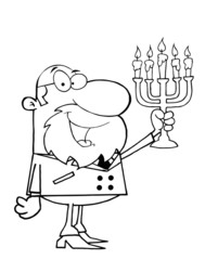 Outlined Rabbi Man Holding Up A Menorah