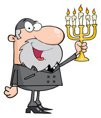 Rabbi Man Holding Up A Menorah
