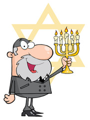 Rabbi Man Holding Up A Menorah, With The Star Of David