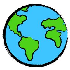 Icona della terra stilizzata con tratto matita