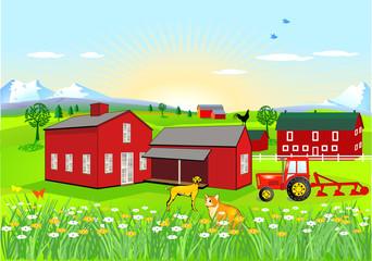 Farm mit Hund und Katze