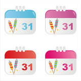 set of 4 new year calendar icons