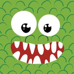 Faccia di mostro verde simpatico e sorridente