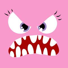 Faccia di mostro rosa femminile aggressiva e paurosa