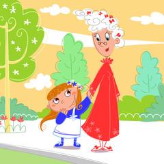 Nonna e nipote al parco allegre