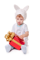 new year rabbit boy with gifts