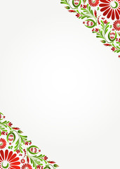 Green floral background with red flowers