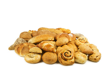 Different breads on white background