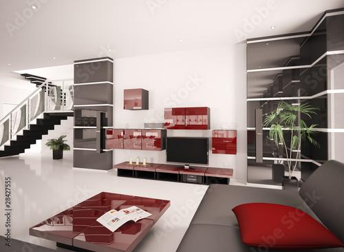 """""""Modern Wohnzimmer mit LCD interior 3d render"""" Stockfotos und lizenzfreie Bilder auf Fotolia.com ..."""