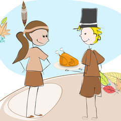 Vector cute Thanksgiving kids illustration