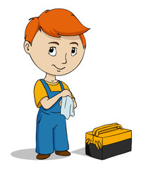 Cartoon repairman with toolbox cleaning hands