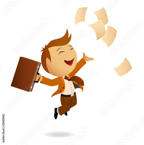Happy jumping businessman with case and flying sheets of paper
