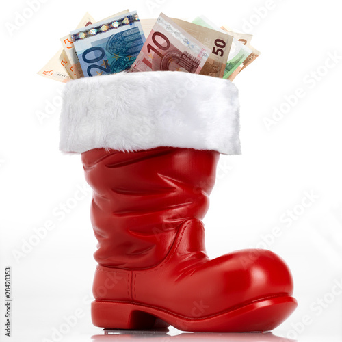 Santa Claus shoe with money
