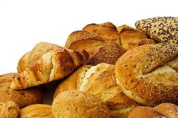 Bread pile on white background