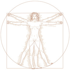 Vector Vitruvian woman