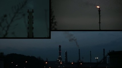 chemical industry at night composition